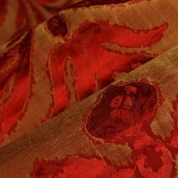Reversible Floral Upholstery in Tan/Rust - Reversible Floral Upholstery in Tan & Rust: Discount Designer 100% Silk. Beautiful fabric ideal for drapery, pillows, or light reupholstering projects.