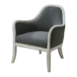 """Uttermost - Uttermost Dayla Indigo Accent Chair 23181 - Ultimate casual comfort in a washed indigo, slubbed linen seat with crusted ivory accent nails and whitewashed pine frame. Outside arms and back are supple faux leather. Seat height is 19""""."""