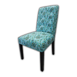Sole Designs - Kacey Suzani Cotton Parson Chair (Set of 2) - Give your home a new look with these fashionable chairs. This set of two chairs features fabric upholstery and an attractive finish. Features: -Set of 2.-Upholstery: Turquoise 100% cotton fabric.-Espresso legs.-Straight legs.-Fire retardant foam.-Wipe clean.-Made in the USA.-Frame construction: Hardwood.-Finish: Wood.-Distressed: No.-Country of Manufacture: United States.Dimensions: -Overall dimensions: 39'' H x 26'' W x 21'' D.-Overall Product Weight: 23 lbs.