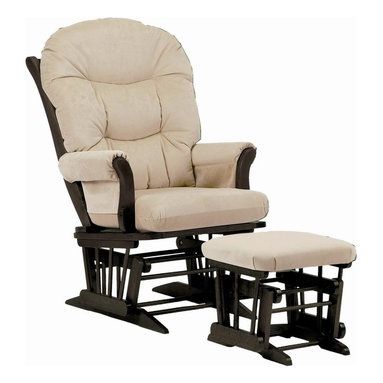 Dutailier - Sleigh Glider Chair w Ottoman (Brown) - Fabric: Brown. Includes matching gliding ottoman. Exclusive glide system. Top quality sealed ball bearings. Removable foam cushions and padded arms. Easy care micro fiber fabric. Frame made from hardwood. Minimal assembly required. Espresso finish. Made in Canada. Chair: 31 in. W x 27 in. D x 43 in. H. Ottoman: 20 in. L x 18 in. W x 14.75 in. HThis Sleigh glider and ottoman combo offers an exceptionally smooth and extra long glide motion with thick cushions and padded arms that will add class and elegance to your decor. There are no sharp edges, the finish is toxic free and this product meets all safety standards.