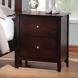 Coaster - Tia Night Stand - The casual, traditional style of the Tia collection brings warmth and comfort into your bedroom. This collection features clean lines, with gentle curves, tapered feet, and simple knobs. Spacious drawes make these pieces functional as well. Crafted from select hardwoods and veneers. Finished in cappuccino.