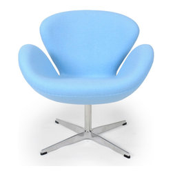 Kardiel Swan Chair, Baby Blue Boucle Cashmere Wool - The Swan Chair was originally designed in 1958 by Danish designer and architect Arne Jacobsen for use throughout the Amsterdam Royal Hotel. The Swan Chair is an example of a classic furniture design inspired by the movement to adapt organic forms into our interior spaces. Appropriate to its name, the chair resembles an artful representation of the largest native North American bird, the trumpeter swan. The Swan Chairs distinguished shape was created by omitting all straight lines from its design curved surfaces. The elegant shape is generous for lounging yet has an minimal airy appearance. This chair is not made by Fritz Hansen. We have no affiliation with Fritz Hansen. The swan chair is the perfect choice for a seating option when you want to incorporate into your spaces a modern classic organic flowing shape. This classic icon is not only a work of art, it is minimal in design, adding a single chair to an existing group or grouping several chairs together easily creates an interestin