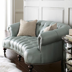 Old Hickory Tannery - Old Hickory Tannery Raza Pressley Sofa - This is the New Traditional: a curved, tufted sofa in unexpected pearlized blue leather with brass-finished nailhead trim and coordinating pillows. Pillows will vary from those shown. Frame is maple. Turned legs have a dark cherry finish. Leather uph...