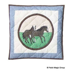 Patch Magic - Horse Friends Toss Pillow - 16 in. W x 16 in. L. 100% Cotton. Machine washable.. Line or flat dry onlyDecorative applique Quilted Pillow.