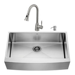 """VIGO Industries - VIGO All in One 36-inch Farmhouse Stainless Steel Kitchen Sink and Faucet Set - Create an inviting new look in your kitchen with a VIGO All in One Kitchen Set featuring a 36"""" Farmhouse - Apron Front kitchen sink, faucet, soap dispenser, matching bottom grid and sink strainer."""