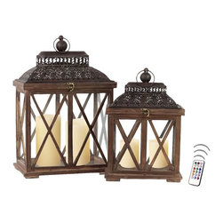 "Asian Import + USA - Ch'teau III Lantern Set with Flameless Candles - The wide wood lantern set has a rustic antique finish and looks beautiful on traditional and formal end tables. The Key West Lantern Collection is the perfect blend of traditional""and tropical designs with Caribbean influences.""They will make a classic design statement of affection for old world style. 20"" and 16"" high. Each lantern features two candles. Included are four candles, one 4"" and two 5"" Avion Select melted edge wax color candles with remote control timer. Note that candles pictured are for presentation only. The candles included in the set are described above. Set of 2"