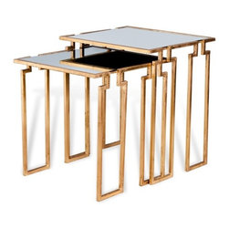 Interlude - Stinson Nesting Tables - Gold - The Stinson Nesting Tables are a set of handsome nesting side tables in mirror and gold finish.