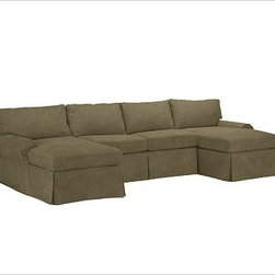 """PB Basic 3-Piece U-Shaped Sectional Slipcover, Velvet Sage - Designed exclusively for our PB Basic Sectional, these easy-care slipcovers have a casual drape, retain their smooth fit, and remove easily for cleaning. Select """"Living Room"""" in our {{link path='http://potterybarn.icovia.com/icovia.aspx' class='popup' width='900' height='700'}}Room Planner{{/link}} to select a configuration that's ideal for your space. This item can also be customized with your choice of over {{link path='pages/popups/fab_leather_popup.html' class='popup' width='720' height='800'}}80 custom fabrics and colors{{/link}}. For details and pricing on custom fabrics, please call us at 1.800.840.3658 or click Live Help. All slipcover fabrics are hand selected for softness, quality and durability. {{link path='pages/popups/sectionalsheet.html' class='popup' width='720' height='800'}}Left-arm or right-arm configuration{{/link}} is determined by the location of the arm on the love seat as you face the piece. This is a special-order item and ships directly from the manufacturer. To view our order and return policy, click on the Shipping Info tab above."""
