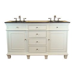 "Tennant Brand - 60"" Elegant White Double Sink Conduit Bathroom Cabinet Vanity #Cf64601Gt - The simplicity of this vanity will make a statement in your bathroom. It's built to fit in any decor, modern or traditional. The rich looking finish and accompany with the fine workman ship in this vanity is truly magnificent. The size of this vanity provides plenty of storage space underneath for towels or other necessities."