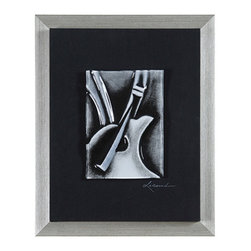 Ren-Wil - Ren-Wil W6099 Sound of Music II Vertical Alternative Wall Decor - Instruments are molded in glass and painted on the reverse in black and white. This glass tile is mounted in a linen covered wood background and is finished with a silver frame.