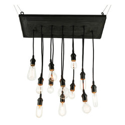 Urban Chandy - Reclaimed Barn Tin Chandy - Reclaim your sense of style with this enlightened chandelier. The base is made from salvaged tin, which can be mounted flush or suspended from the ceiling. It features 12 hanging pendants of different lengths, 15 feet of cord with plug and 12 bulbs in various shapes for an eclectic look.