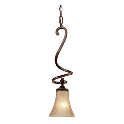 Golden Lighting - Loretto Mini Pendant - Accent your home with a mini pendant. Solo or paired, its bronze finish and hand blown water glass radiate. A hanging sculpture for any room.