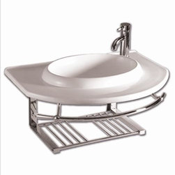 Whitehaus - Whitehaus Whkn1124 Isabella Bathroom Wall Mount Sink Unit - Isabella large wall mount basin with integrated round Kitchen Sink, single faucet hole and center drain