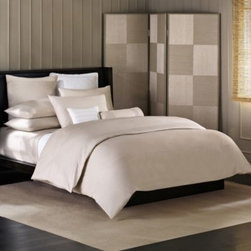 Barbara Barry - Barbara Barry Simplicity Stitch Duvet Cover in Silver Birch - Clean, crisp and cool, the simplicity stitch bed is a study in understated luxury. Fine pin tucks are arranged in rows on this percale duvet, creating an intricate couture detailing.