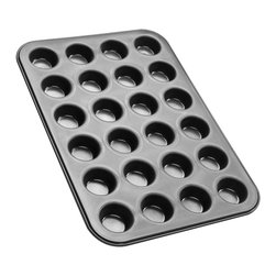 Frieling - 24 Mini Muffins Pan, 15 X 10 - 24 mini muffins. Non-stick collar for perfect release. Zenker pans are constructed of steel for great heat conduction. Enamel coated inside and out is applied under 1832-degrees Fahrenheit. This high temperature makes the surface extremely resistant to high temperature baking and cut resistant. Dishwasher safe and easy to clean.