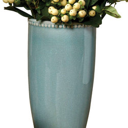 """Parisian Vase - Teal - 5"""" x 3.5"""" - Classic details like a beaded edge and a high, smooth, tapered body make the Parisian Vase in Teal feel elegant and refined. Excellent for weeping arrangements or for dense bouquets, this ceramic vase is nearly a foot high, suffused in cool, bright color and subtly accented by a crackled underlying texture to the glaze. The on-trend piece is both versatile and elite."""
