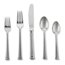 Lenox - Lenox Eternal Frosted 5-Piece Place Setting - Classic and elegant like the classic Lenox Eternal china pattern, this channeled 18/10 stainless steel flatware is lightly frosted for a touch of elegant simplicity.