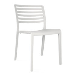 Resol - Resol Lama White Side Chair - The Lama Chair from the Resol collection is the result of the reinterpretation of the classical outdoor furniture made of metal slats. For this chair the designer Josep Llusca has mixed three basic concepts: lightness transparency and ergonomics. Classic in inspiration but modern in materials this polypropylene and fibre glass injected chair with UV protection is suitable for any indoor and/ or outdoor ambiance. The weight of this stackable chair is of 8.80 pounds. Resol was born more than 50 years ago and has since become a benchmark in the field of plastics processing statewide. In the beginning they were noted for having the most comprehensive range of refrigerators and veneer.  They currently stand as a manufacturer of plastic products with high added value in design innovation and technology while the processes of developing manufacturing and marketing of indoor and outdoor furniture to lead and process engineering thermoplastics injection.  With an international focus its products and services are present in more than 100 countries worldwide. They feature the most extensive range of furniture for the hospitality sector and are leaders in products for mass distribution and Furniture Design through the Barcelona brand Dd which have the collaboration of prestigious international designers like Josep Lluscà or Joan Gaspar.  SOLVE consists Olot Resins business (furniture products in own brands) and PLASFUR (technical plastic injection for others).