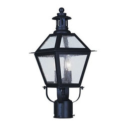 """Livex Lighting - Livex Lighting 2042 2 Light 120 Watt 8.5"""" Wide Outdoor Post Light - 2 Light 120 Watt 8.5"""" Wide Outdoor Post Light with Seeded Glass from the Waldwick CollectionFrom the Waldwick Collection, this two light outdoor wall lantern features clear glass and a traditional look and feel.Features:"""