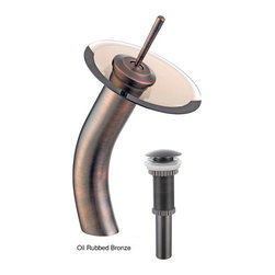 Kraus - Kraus Single Lever Vessel Glass Waterfall Faucet Oil Rubbed Bronze with Clear Gl - *Add a touch of elegance to your bathroom with a waterfall vessel sink faucet from Kraus