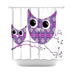 DiaNoche Designs - Shower Curtain Artistic - Owl Argyle Purple - DiaNoche Designs works with artists from around the world to bring unique, artistic products to decorate all aspects of your home.  Our designer Shower Curtains will be the talk of every guest to visit your bathroom!  Our Shower Curtains have Sewn reinforced holes for curtain rings, Shower Curtain Rings Not Included.  Dye Sublimation printing adheres the ink to the material for long life and durability. Machine Wash upon arrival for maximum softness. Made in USA.  Shower Curtain Rings Not Included.