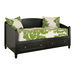 Home Styles - Home Styles Bedford Storage Wood Daybed in Black - Home Styles - Daybeds - 553185 - Features such as two large storage drawers with full extension side guides; recessed drawer fronts and Brushed Nickel hardware; arched back and side panels; and unadorned finials and feet the Bedford Daybed offers versatility in that it can be used as a twin bed or seating in a casual sitting room.  Construction is of mahogany solids and engineered wood in a multi-step Black finish with solid wood slats for strength and stability.