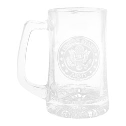 """Crystal Imagery, Inc. - Army Beer Mug, Engraved Military Gifts - Engraved Army Beer Mug is a perfect army military retirement gift or promotion gift. Deeply carved using our sand carving technique, each of our custom beer mugs is meticulously custom made to order making it the perfect gift for those seeking unique gift ideas for beer lovers - men and women alike. At 5.75"""" high x 3"""" wide, our beer mugs and glasses hold 15 oz. A set of these etched, engraved beer mugs will be the favorite gift at any special gift giving occasion. Dishwasher safe. SOLD AS A SET F 4."""