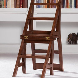 "Exposures - Library Ladder Chair - Overview Library ladder chair is as charming as it is practical. This ingenious chair converts to a step ladder with a simple flip of the chairback. Designed for reaching high bookshelves in a library, this ladder chair also makes a useful addition to any room with hard-to-reach storage. A rich chestnut wood finish will add warmth to your existing dcor.  Features Made from solid wood Hinged back flips over to convert to a ladder Some assembly required  Specifications  Measures 34"" high x 17"" wide x 16-1/2"" deep    Shipping  Allow an additional 1-2 weeks for delivery   No express shipping available"