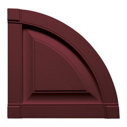 """Builders Edge - Raised Panel Design Quarter Round Tops in Win - Provides distinctive styling for standard shutters. Constructed with color molded-through vinyl so they will not scratch, flake, or fade. Durable, maintenance-free U.V. stabilized, deep wood grain texture. Made in the USA. For use with Builders Edge 15"""" Standard Raised Panel Shutters only. 14.75 in. W x 1 in. D x 14.75 in. H (1.69 lbs.)"""