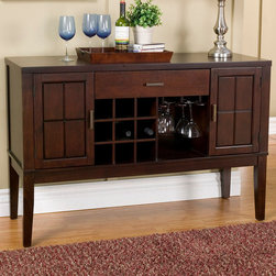 "Alpine Furniture - Havenhurst Server with Wine and Glass Rack - Havenhurst Server with Wine and Glass Rack; Merlot Finish; Product Material: Acacia Solids and Birch Veneer; Fully Assembled; Country of Origin: Vietnam; Dimensions: 54""L x 20""W x 36""H"
