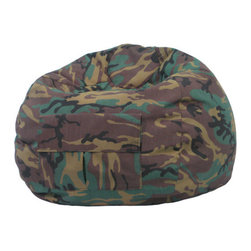 """Gold Medal Bean Bags - Camouflage Bean Bag Chair - Features: -Sturdy and durable denim look cover.-Double stitched.-Child safe zipper.-Easy spot clean maintenance.-Comfortably fits all ages.-Filled with virgin expanded polystyrene beans.-Comes with cargo pocket.-Made in the USA.-Distressed: No.-Country of Manufacture: United States.-Collection: Denim Look Fabric.-Fill Included: Yes -Fill Material: Polystyrene Beans.-Pre-Filled: Yes..-Refillable: Yes.-Removable Cover: No.-Zipper Closure: Yes.-Childproof Closure: Yes.-Seating Comfort: Soft.-Commercial Use: Yes.-Recycled Content: No.-Product Care: Spot Clean.-Recommended Age (Size: XX Large): Adult.-Recommended Age (Size: Small / Toddler): Toddler.-Recommended Age (Size: Medium / Tween): Child - 14.-Recommended Age (Size: Extra Large): Adult.Dimensions: -Small / Toddler dimensions: 15'' H x 26'' W x 26'' D.-Medium / Tween dimensions: 19'' H x 28'' W x 28'' D.-Extra Large dimensions: 25'' H x 39'' W x 39'' D.-XX-Large dimensions: 24'' H x 41'' W x 41'' D.-Overall Height - Top to Bottom (Size: XX Large): 24"""".-Overall Width - Side to Side (Size: XX Large): 41"""".-Overall Depth - Front to Back (Size: XX Large): 41"""".-Circumference (Size: XX Large): 140"""".-Volume (Size: XX Large): 144"""".-Overall Product Weight (Size: XX Large): 10 lbs.-Overall Height - Top to Bottom (Size: Small / Toddler): 15"""".-Overall Width - Side to Side (Size: Small / Toddler): 26"""".-Overall Depth - Front to Back (Size: Small / Toddler): 26"""".-Circumference (Size: Small / Toddler): 84"""".-Volume (Size: Small / Toddler): 36"""".-Overall Product Weight (Size: Small / Toddler): 4 lbs.-Overall Height - Top to Bottom (Size: Medium / Tween): 19"""".-Overall Width - Side to Side (Size: Medium / Tween): 28"""".-Overall Depth - Front to Back (Size: Medium / Tween): 28"""".-Circumference (Size: Medium / Tween): 105"""".-Volume (Size: Medium / Tween): 66"""".-Overall Product Weight (Size: Medium / Tween): 5.5 lbs.-Overall Height - Top to Bottom (Size: Extra Large): 25"""".-Overall Width - Side"""