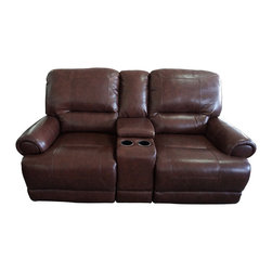 Klaussner Furniture - Slade Reclining Loveseat, Joplin Brown - Sure to give you full relaxation, comfort and support, the Slade loveseat features full chaise pad recliners, plush cushioning in Joplin Brown upholstery, and center console with two cup-holders.