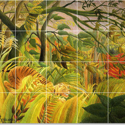 Picture-Tiles, LLC - The Tiger Tile Mural By Jean Jacques Rousseau - * MURAL SIZE: 24x30 inch tile mural using (20) 6x6 ceramic tiles-satin finish.