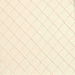 """Ballard Designs - Creamy Pintuck Fabric By the Yard - Content: 100% cotton. Finish: Textured. Repeat: Railroaded fabric, 1 1/4"""" repeat. Care: Dry clean only. Width: 50"""" wide. Raised diamond pattern stitched in creamy 100% cotton. .  . Repeat: Railroaded fabric, 1 1/4"""" repeat .  . Width: 50"""" wide . Because fabrics are available in whole-yard increments only, please round your yardage up to the next whole number if your project calls for fractions of a yard. To order fabric for Ballard Customer's-Own-Material (COM) items, please refer to the order instructions provided for each product.Ballard offers free fabric swatches: $5.95 Shipping and Processing, ten swatch maximum. Sorry, cut fabric is non-returnable."""