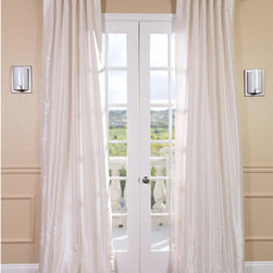 Half Price Drapes - Off White Vintage Textured Faux Dupioni Silk Single Panel Curtain, 50 X 96 - - Ordinary Off White, is anything but ordinary in our Faux Silk Dupioni Curtains. The slight oyster-like sheen makes this neutral curtain mimic the finest textured Dupioni silk. These curtains bring the look of luxury without the cost or high-maintenance care. Built-in are two header designs within a single panel: attached back tabs for a formal pleated look and traditional pole pockets.   - Single Panel   - 3 Rod Pocket with Back Tab     - Pole Pocket with Back Tabs   - Dry clean   - 100% Polyester Dupioni Fabric   - Lined with a cotton blend material  - 50x96   - Imported   - White Half Price Drapes - PDCH-KBS2-96