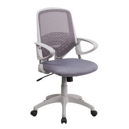 Flash Furniture - Flash Furniture Mid-Back Dark Gray Mesh Office Chair - Update your office space with this contemporary mesh office chair. The breathable mesh back features horizontal lines giving it a clean appearance. The comfortably padded seat features a waterfall edge to promote healthy blood flow.