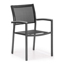 ZUO VIVA - Muni Dining Chair Black - The Muni Bench has a sturdy epoxy coated aluminum frame and a slatted faux wood seat.