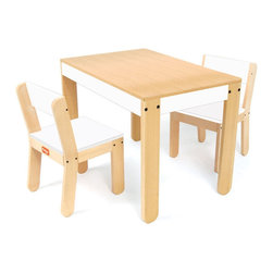 P'kolino Little One's Table and Chair Set in White - This little modern table and chair set fits discreetly into most any room into the house, allowing for your little one to have their own space for play and creation. Known for its sturdy construction, this set can last for years and become a modern classic in your home.