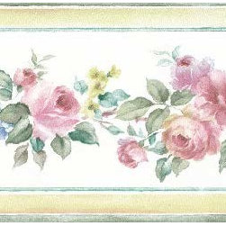 York Wallcoverings - Brown Border Pretty Print Beautiful Roses Wallpaper Border - Wallpaper borders bring color, character and detail to a room with exciting new look for your walls - easier and quicker then ever.