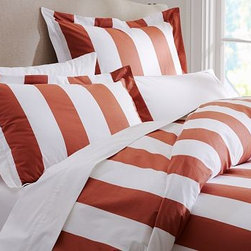 PB Classic Stripe 400-Thread-Count Duvet Cover, Full/Queen, Terra Cotta - Awning stripes give this bedding its all-American appeal. We've printed them across luxuriously soft 400-thread count cotton percale. Woven of 100% pure cotton percale. 400-thread count. Duvet and sham reverse to self. Duvet cover has a hidden button closure; sham has an envelope closure. Duvet cover, sham and insert sold separately. Machine wash. Imported.