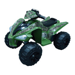 Fun Wheels - Fun Wheels True Timber Camo Super Quad Battery Powered Riding Toy - Green - 07CM - Shop for Tricycles and Riding Toys from Hayneedle.com! The Fun Wheels True Timber Camo Super Quad Battery Powered Riding Toy - Green won't go in the woods but your little rider will be plenty thrilled in the living room. This rechargeable vehicle is loaded with features dual speeds working headlights a real horn pedal control that keep little off-roaders happy. Powered by a rechargeable 12-volt battery. Playtime: 1-2 hours.