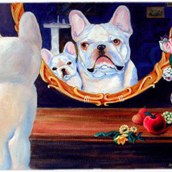 Caroline's Treasures - French Bulldog Kitchen or Bath Mat 24x36 - Kitchen or Bath COMFORT FLOOR MAT This mat is 24 inch by 36 inch.  Comfort Mat / Carpet / Rug that is Made and Printed in the USA. A foam cushion is attached to the bottom of the mat for comfort when standing. The mat has been permenantly dyed for moderate traffic. Durable and fade resistant. The back of the mat is rubber backed to keep the mat from slipping on a smooth floor. Use pressure and water from garden hose or power washer to clean the mat.  Vacuuming only with the hard wood floor setting, as to not pull up the knap of the felt.   Avoid soap or cleaner that produces suds when cleaning.  It will be difficult to get the suds out of the mat.