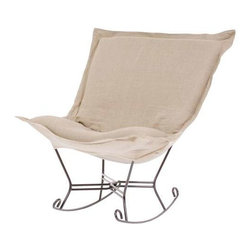 Howard Elliott Prairie Linen Natural Scroll Puff Rocker - Titanium Frame - Totally stylized! The Puff Chair with the velvety texture and rich colors of Microsuede make this the perfect chair for any home. Accented with horizontal tonal bands and topstitched seams gives the Microsuede Puff Chair the look of true suede.