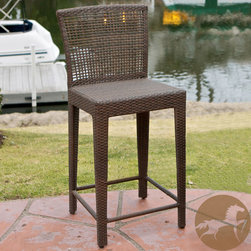 Christopher Knight Home - Christopher Knight Home Pacific Wicker Bar Stool - Give your feet a rest with this wicker bar stool from Christopher Knight Home. This modern stool features tightly woven PE wicker and a neutral brown color to match outdoor decor. Its sturdy iron frame is sure to grant you years of service.