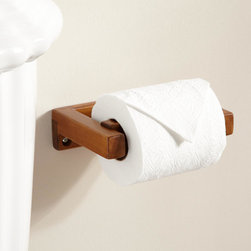 Teak Toilet Paper Holder - The Teak Toilet Paper Holder is made of brown, smooth textured hardwood. A simple, lift-off piece lets you quickly and easily refill toilet tissue.