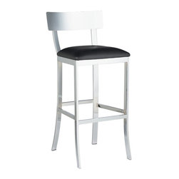 Sunpan - Sunpan Maiden Barstool - 66332 - Shop for Dining Chairs from Hayneedle.com! A stunning chrome finish is the focal point of this Sunpan Maiden Barstool. Constructed of impressively strong steel it has a cushy faux leather seat that comes in bold color options. It's suitable for home and commercial settings such as restaurants hotels lounges offices and reception areas.About SunpanSunpan is a global furniture company. They specialize in designing and manufacturing contemporary- and transitional-style furnishings. Sunpan takes pride their designs which reflect international trends in fashion and interior design. Sunpan is the ideal choice for your modern home.