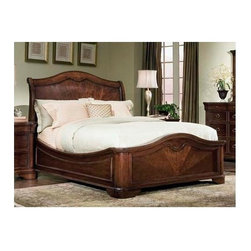 Legacy Classic - Heritage Court Platform Bed w Sleigh Headboard in Cocoa Brown Finish (Queen) - Choose Size: Queen. Highlighted by graceful curved design elements, this lovely platform bed will bring a regal elegance to any bedroom decor. Both formal and classic, the bed features a sleigh headboard with an arched top and a carved footboard with curves that echo the headboard on a smaller scale. It is available in your choice of sizes. Heritage Court Collection. Includes arched sleigh headboard, platform footboard & 2 pcs. platform rails with 3 slats & 3 feet. King-sized beds has 3 slats & 6 feet. Assembly required. American hardwood solid & figured Okoume Mahogany veneer. Sturdy frame. Queen: 93 in. L x 67 in. W x 60 in. H (268 lbs.). Headboard: 67 in. L x 9 in. W x 60 in. H (110 lbs.). Footboard: 67 in. L x 6 in. W x 27 in. H (70 lbs.). Rails: 78 in. L x 3 in. W x 21 in. H (88 lbs.). California King: 93 in. L x 83 in. W x 62 in. H (301 lbs.). Headboard: 83 in. L x 9 in. W x 62 in. H (127 lbs.). Footboard: 83 in. L x 6 in. W x 28 in. H (79 lbs.). Rails: 78 in. L x 3 in. W x 21 in. H (95 lbs.). Eastern King: 97 in. L x 79 in. W x 62 in. H (232 lbs.). Headboard: 79 in. L x 9 in. W x 62 in. H (100 lbs.). Footboard: 79 in. L x 6 in. W x 28 in. H (79 lbs.). Rails: 82 in. L x 3 in. W x 21 in. H (53 lbs.). Arched sleigh headboard. Platform footboard. Platform rails. Optional leather headboard