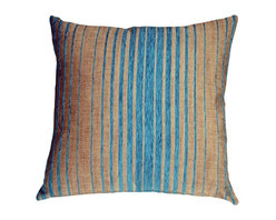 Pillow Decor Ltd. - Pillow Decor - Shasta Blue Stripes Throw Pillow - Soft teal blue chenille stripes band together on this stunning throw pillow. The background color is a light sand stone gray flecked with espresso brown. Together with the blue stripes, this is a color combination that was just meant to be. The substantial weight of the fabric makes it durable, rich and appealing. This pillow is fantastic on sofas or stand alone chairs and would add designer flair on a bed against crisp white linens.