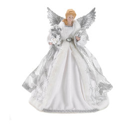 Gifts galore - White Angel Doll &Tree Topper - Top your tree with this beautiful angel, decked out in shimmering silver and fur trimmed robes and glimmering silver wings.  She is the perfect finishing touch to your pretty holiday tree.