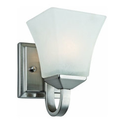 DHI-Corp - Torino 1-Light Wall Sconce, Satin Nickel - The Design House 514745 Torino 1-Light Wall Sconce is made of formed steel, snow glass and finished in satin nickel. This 1-light wall mount is rated for 120-volts and uses (1) 60-watt medium base incandescent bulb. This sconce's petite design mounts seamlessly to the wall without a chain or visible wires. Measuring 8-inches (H) by 5.1-inches (W), this 2.5-pound fixture can be mounted facing up or down depending on location and preference. Squared details accentuate the snow glass to create a sleek centerpiece in a hallway, entry way or bathroom. This product is UL and CUL listed and approved for damp areas. The Torino collection features a beautiful matching vanity light, chandelier and mini pendant. The Design House 514745 Torino 1-Light Wall Sconce comes with a 10-year limited warranty that protects against defects in materials and workmanship. Design House offers products in multiple home decor categories including lighting, ceiling fans, hardware and plumbing products. With years of hands-on experience, Design House understands every aspect of the home decor industry, and devotes itself to providing quality products across the home decor spectrum. Providing value to their customers, Design House uses industry leading merchandising solutions and innovative programs. Design House is committed to providing high quality products for your home improvement projects.
